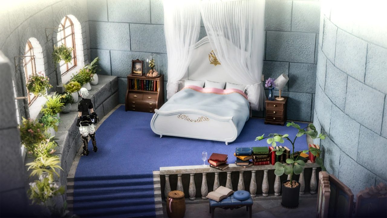 Fantasian screenshot of a bedroom in a castle.