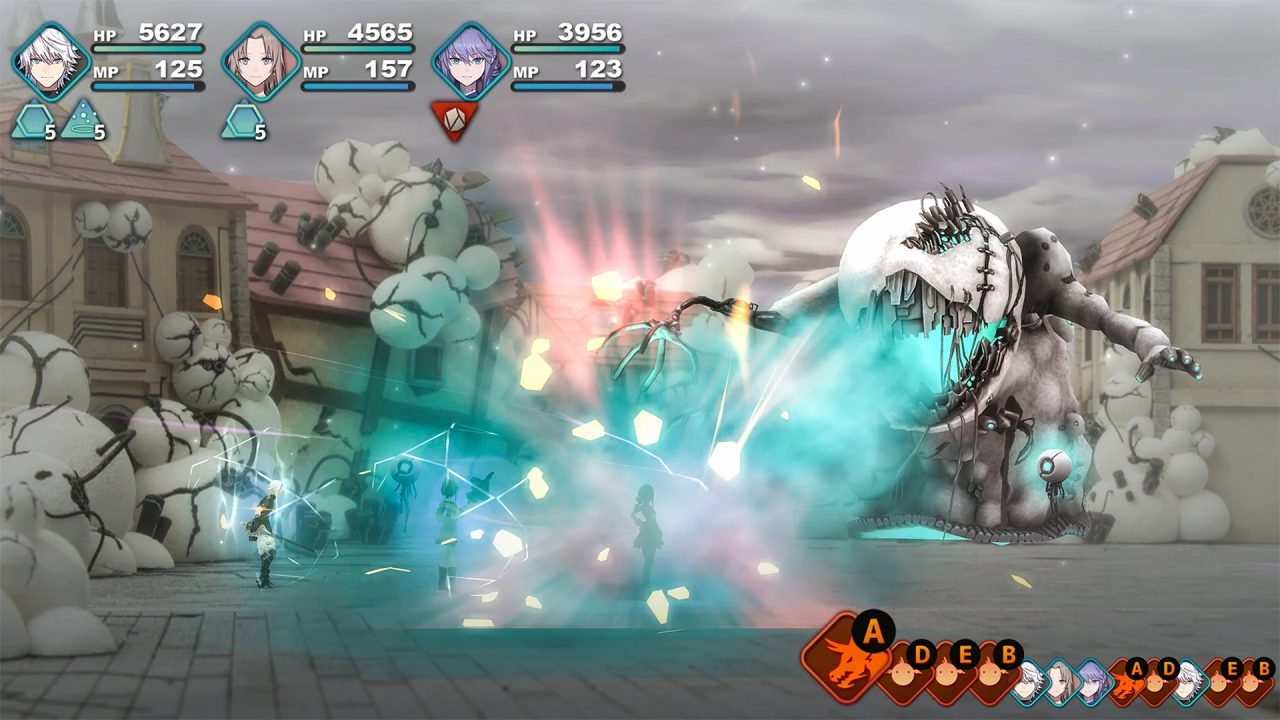 Fantasian screenshot of a boss battle against a bogeyman-like creature formed out of machine parts.