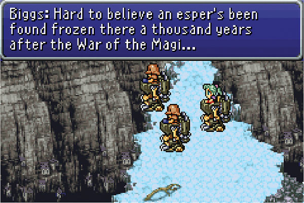 Biggs, Wedge, and a green-haired Terra standing outside of Narshe in Final Fantasy VI. They are all in their Magitek Armor standing on top of a snow-covered cliff. Biggs is talking about the espers and the War of the Magi, with a blue text box at the top of the screen.