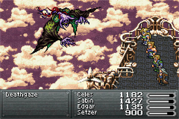 A combat scene on a grey airship, with purple and grey clouds in the background, in Final Fantasy VI. The party is Celes, Sabin, Edgar, and Setzer, and they are fighting Deathgaze.