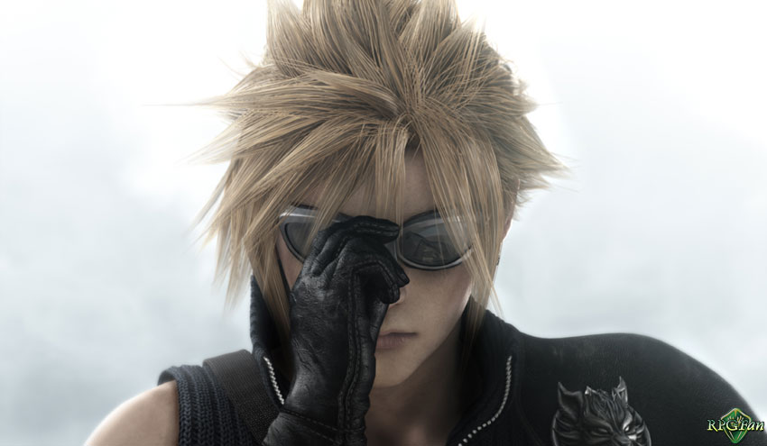 Final Fantasy VII: Advent Children Screenshot of Cloud dramatically putting on sunglasses.