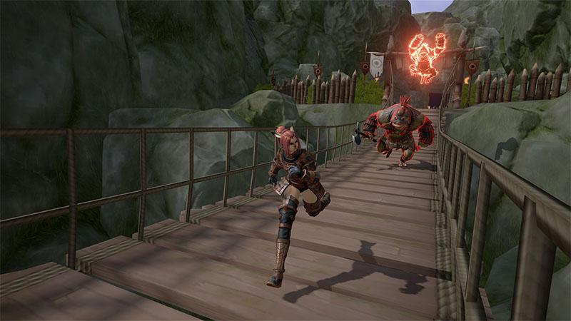 Characters running across a bridge in Final Fantasy XI