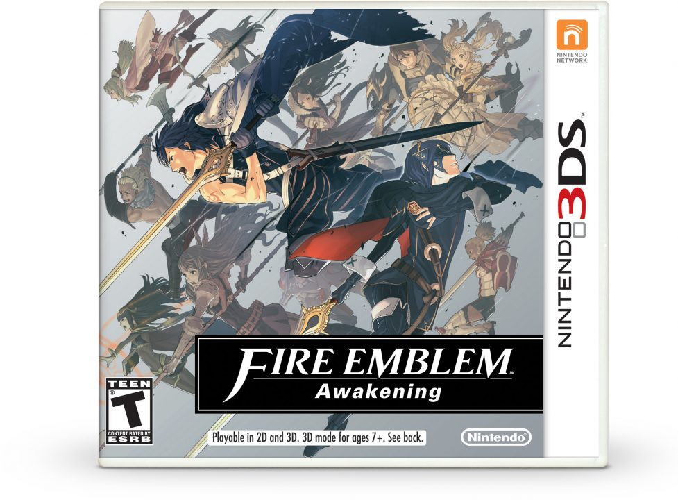 Cover art for Fire Emblem Awakening for the Nintendo 3DS (NA/US), featuring Chrom and Lucina as they cross paths.
