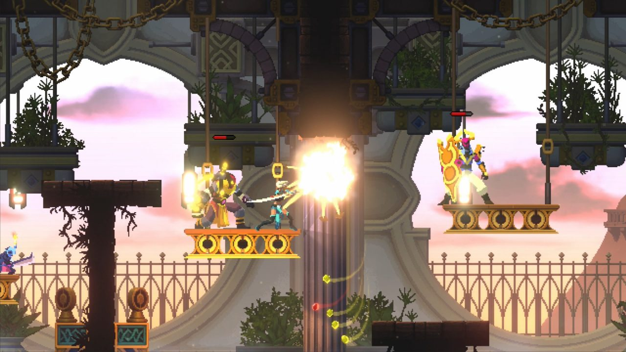 The Arbiter battles armored enemies on floating platforms in an ancient palace.