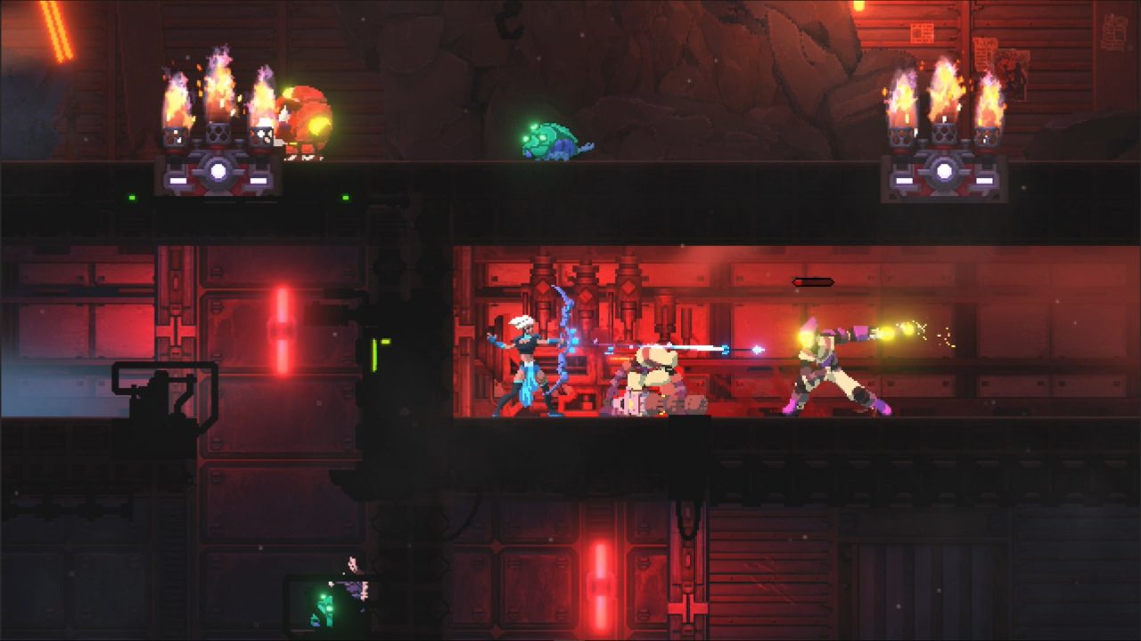 Forgone screenshot showing the Arbiter shooting a blue energy arrow from her bow toward some suited enemies in a small red-lit corridor.