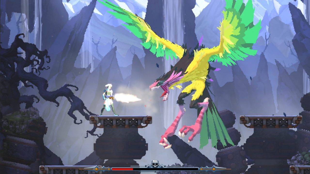 A character fires a gun at a giant bird-like creature in Foregone.