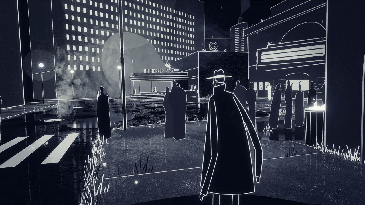 No Man gazes at a bar in Genesis Noir.