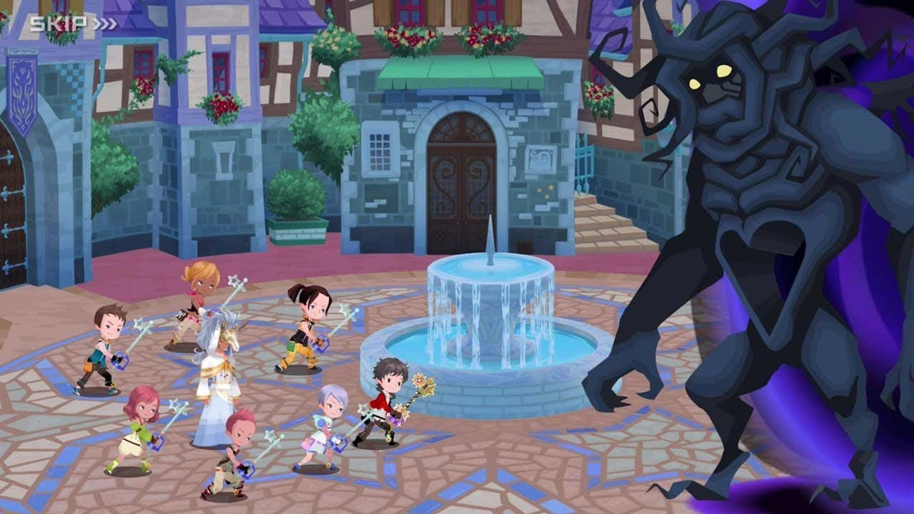 A group battles against the giant Heartless, Darkside, in mobile title Kingdom Hearts: Union X for Android and iOS.