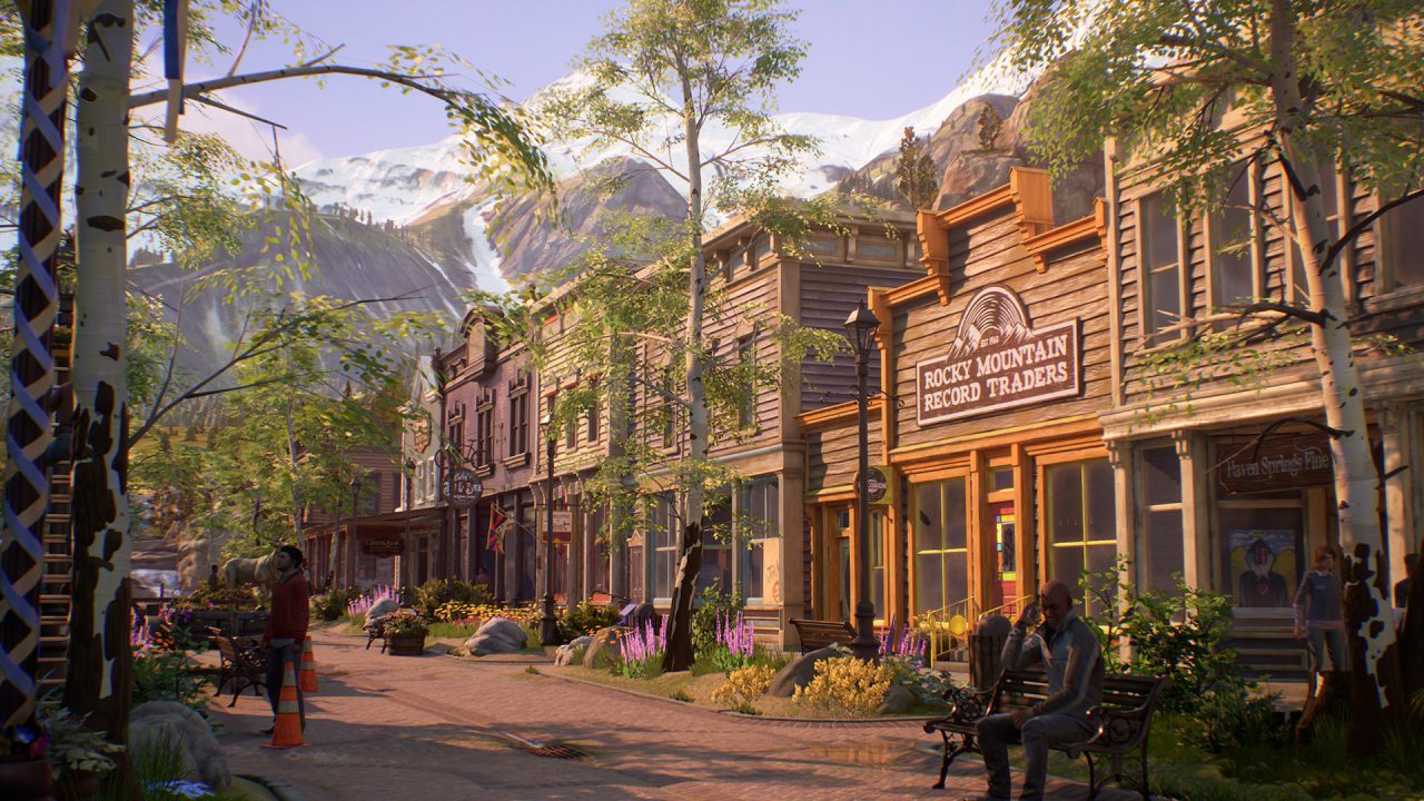 Mountain town center street featuring Rocky Mountain Record Traders.
