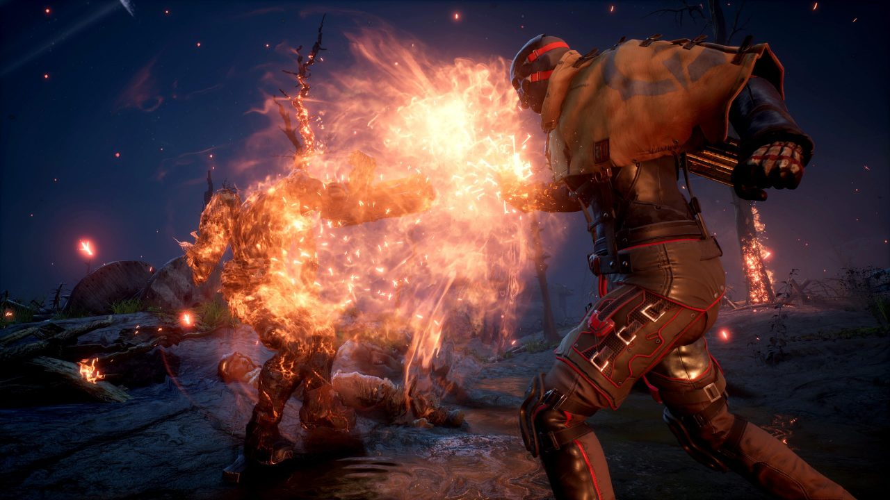 A character shoots a fireball at another character.