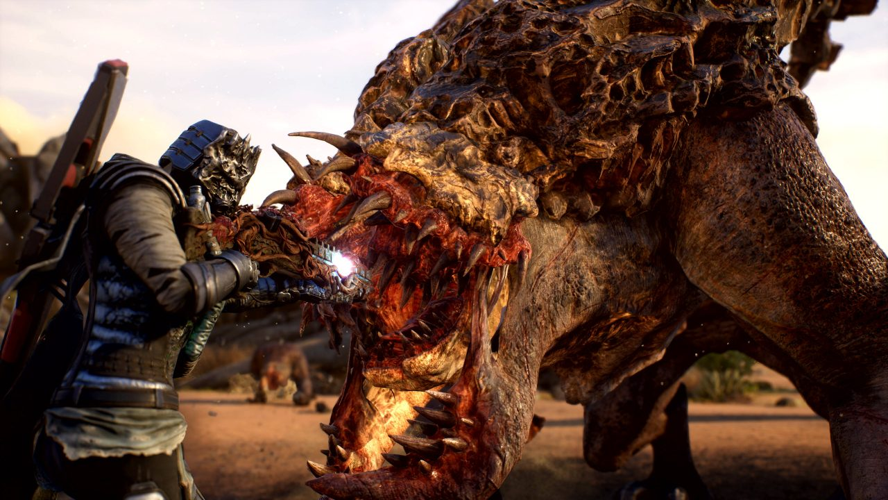 A character fires their gun at a large creature in Outriders.