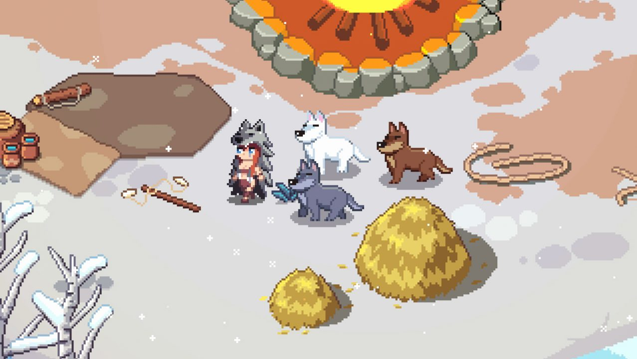 A prehistoric character being followed by three friendly wolves.