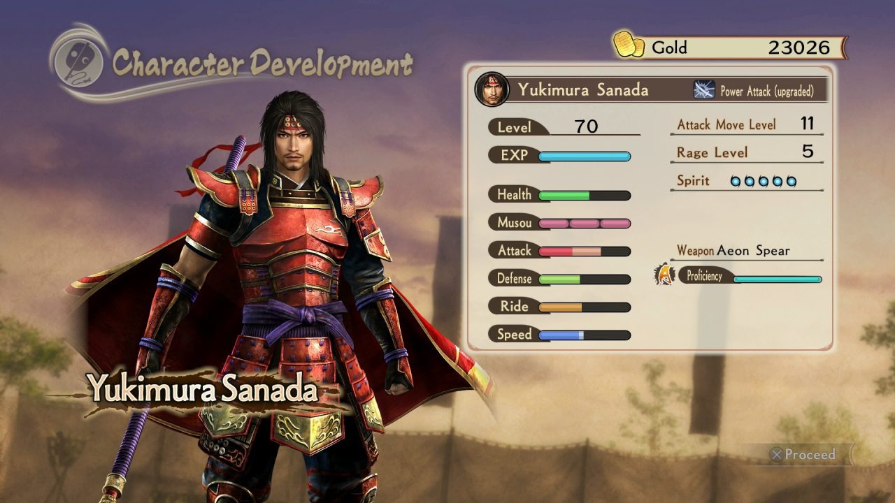 Screenshot from Samurai Warriors: Spirit of Sanada featuring Yukimura Sanada's statistics after leveling up.
