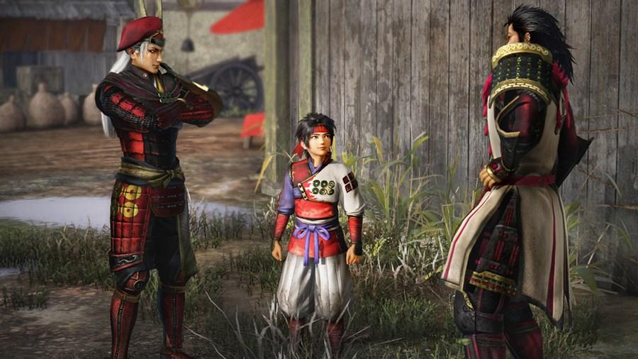 Screenshot from Samurai Warriors: Spirit of Sanada featuring a young Yukimura Sanada watching a conversation between his father and Sakon Shima.