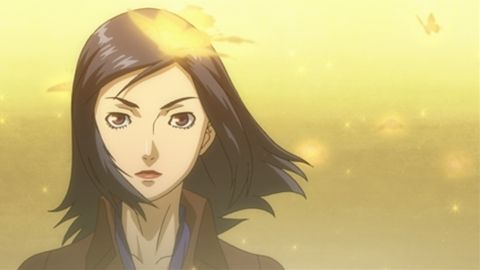 An anime visual of Maya Amano shrouded in light in Persona 2 Eternal Punishment