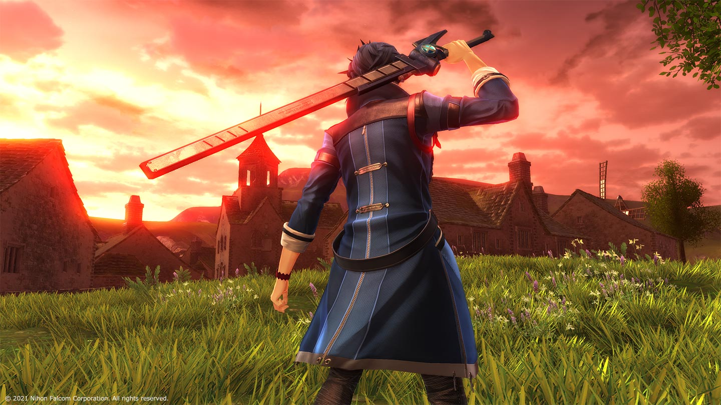 Man in blue trenchcoat with a rectangular-bladed sword stands outside a quaint town during sunset in The Legend of Heroes: Kuro No Kiseki.