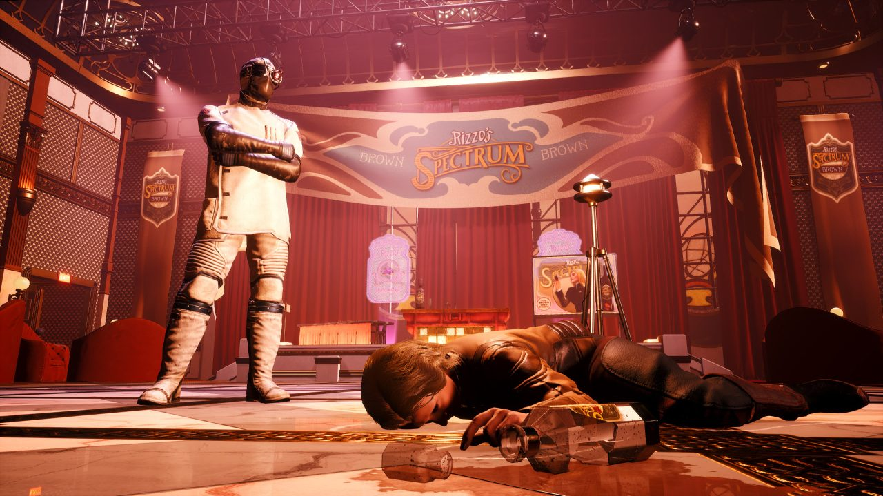The Outer Worlds: Murder on Eridanos screenshot of a man in a mask looking down at a dead woman with a glass bottle on the floor near her hand.