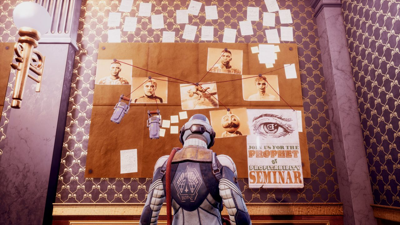 Player character looking at conspiracy theory meme style board of suspects in a room with purple and gold patterned wallpaper.