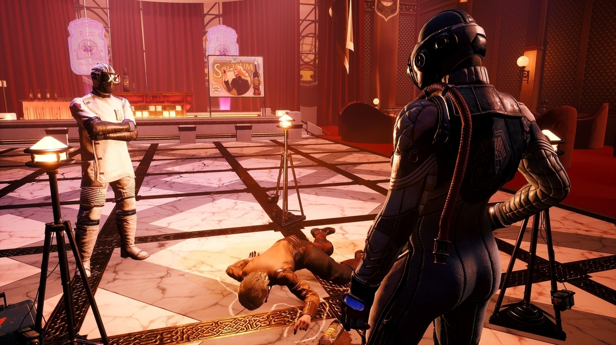 Two characters observe the death of a third in The Outer Worlds: Murder on Eridanos.