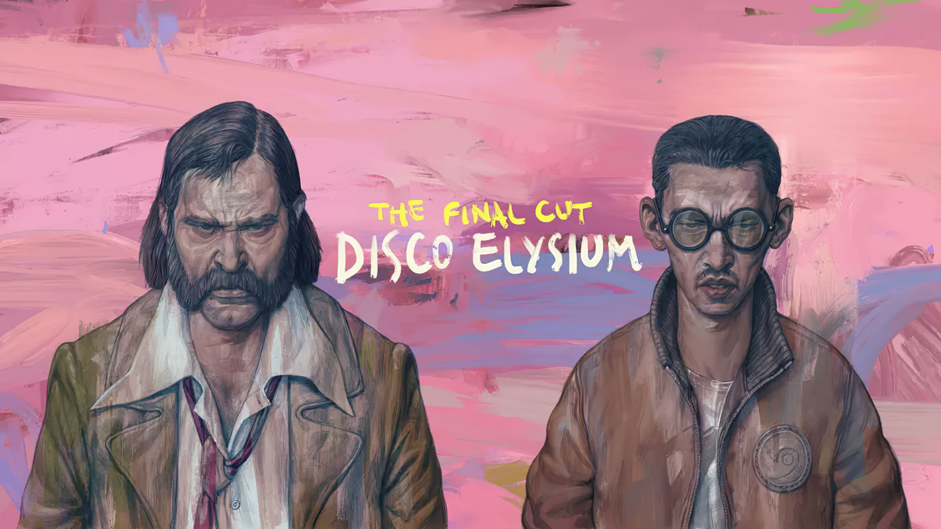 Two main characters stand side-by-side in front of a pink sky in Disco Elysium: The Final Cut.