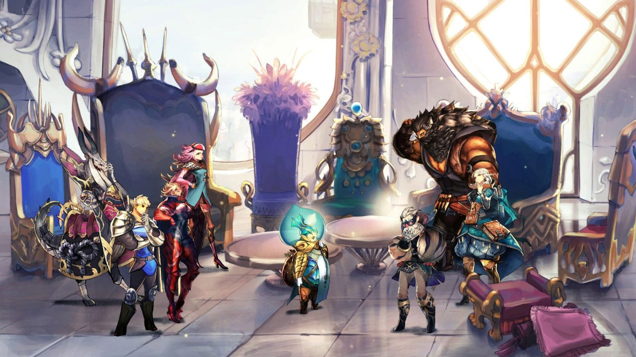 A group of characters standing together in a white, sun-lit hall in Astria Ascending. The visuals are hand drawn.