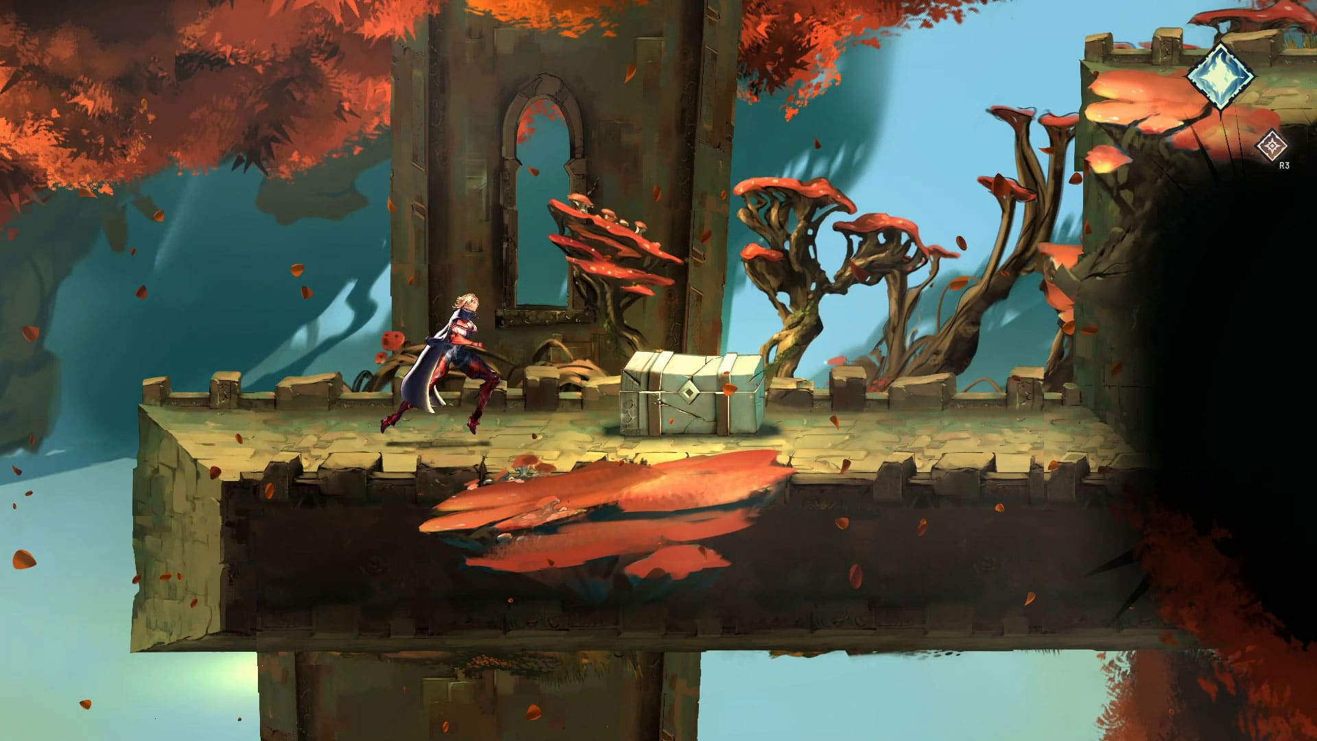 A protagonist of Astria Ascending walks through a forest of orange mushrooms, growing amidst ruined buildings.