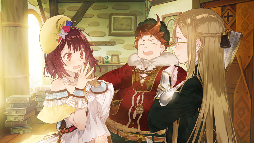 The protagonist expresses her frazzled surprise as friends laugh in Atelier Mysterious Trilogy.