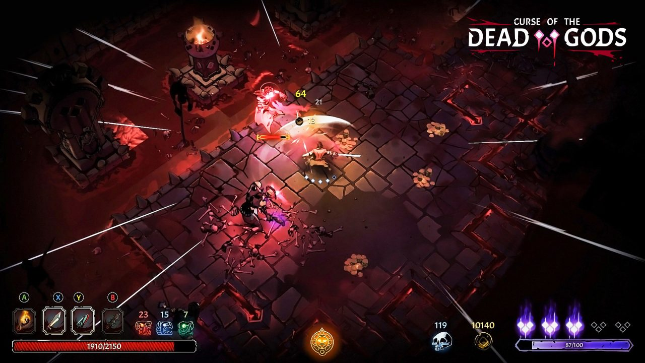A character swings a weapon at monsters in Curse of the Dead Gods.