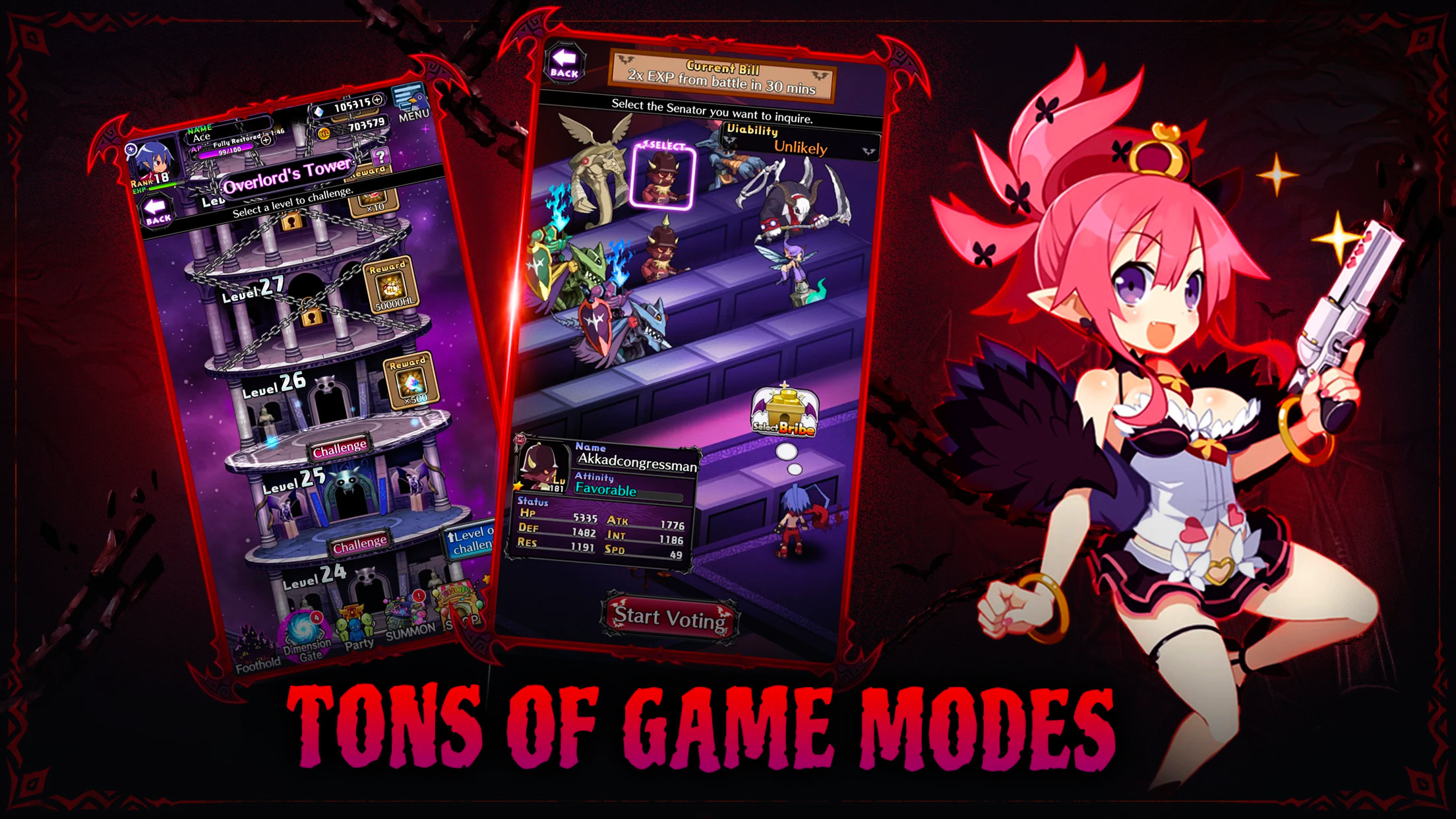 Disgaea RPG screenshots showing multiple game modes such as Overlord's Tower and demon senators.