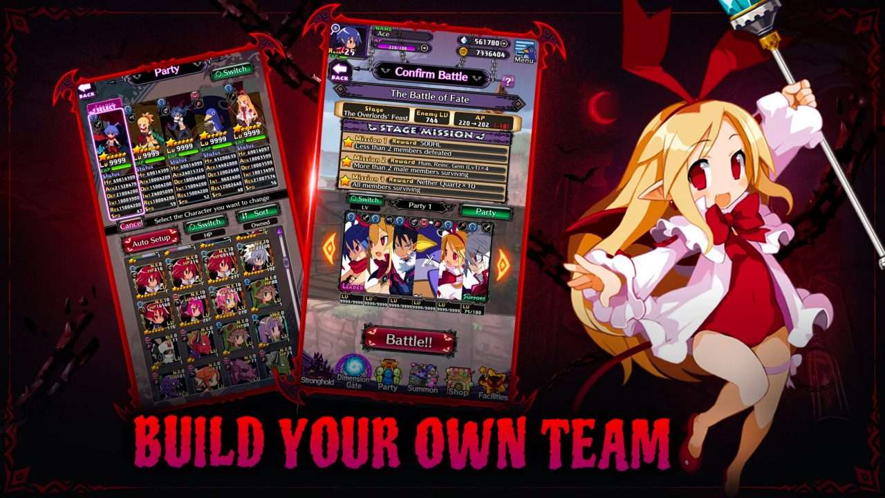 Disgaea RPG screenshots displaying a wide cast of characters with maxed out stats.