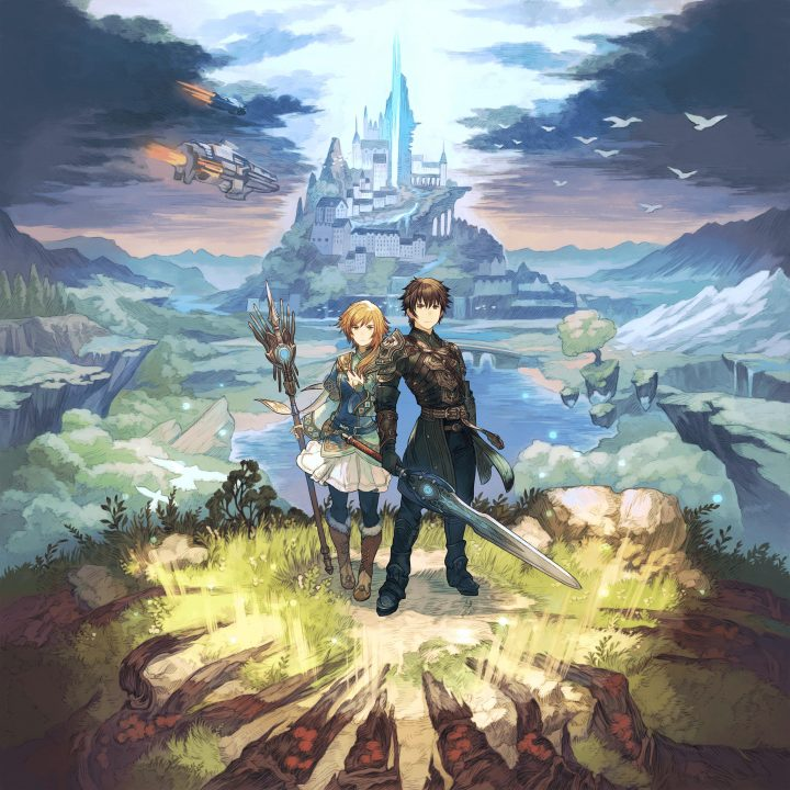 Edge of Eternity Key Artwork of a male and female character standing back to back on a mountain with spaceships and a castle in the distance.