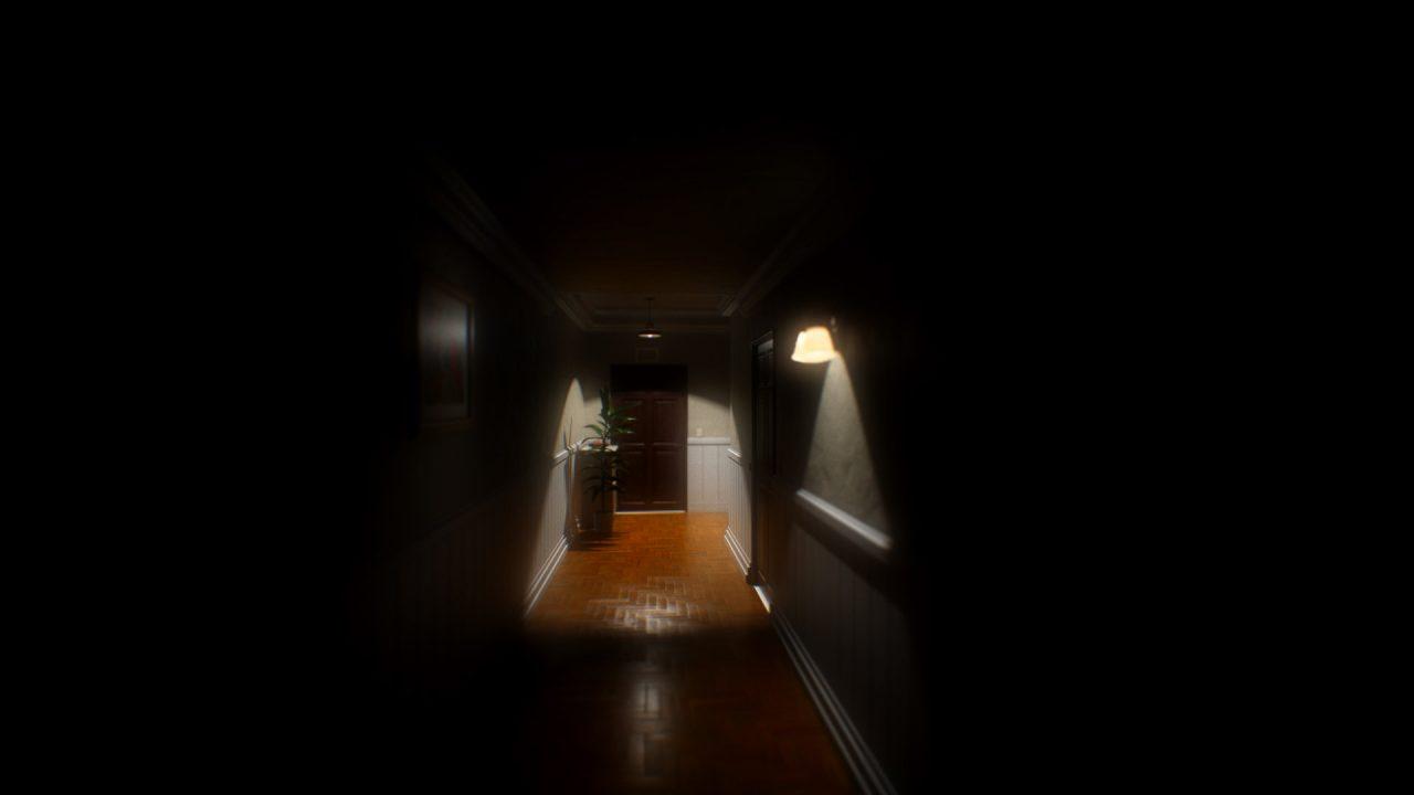A hallway is dimly lit in Evil Inside.