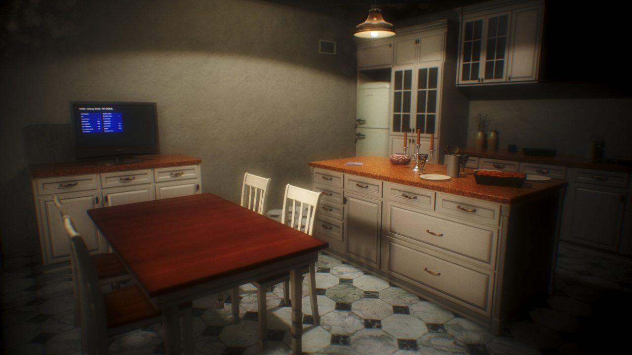 A kitchen is dimly lit.