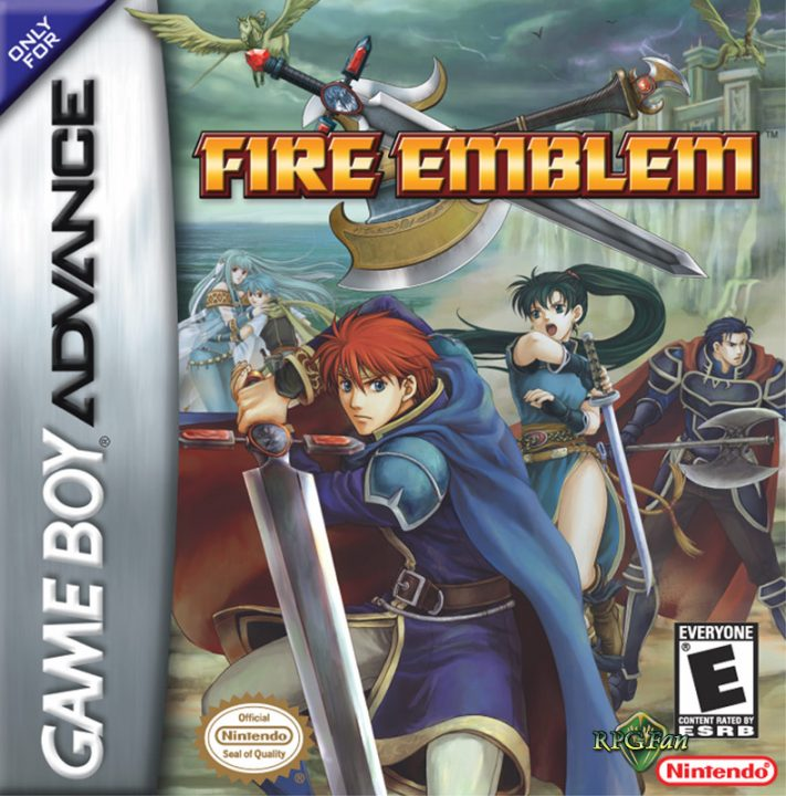 Fire Emblem Cover Art (US) for the Game Boy Advance. The cover depicts the three lords: Eliwood, Lyn, and Hector, with the enigmatic cyan-haired twins Nils and Ninian in the background.