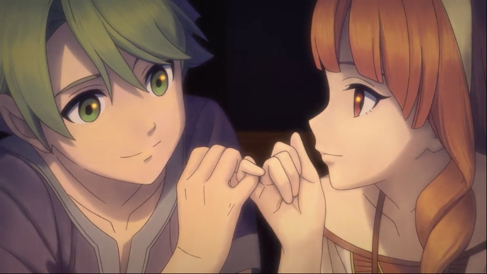 Alm and Celica make a pinkie promise in an animated cutscene in Fire Emblem Echoes: Shadows of Valentia.