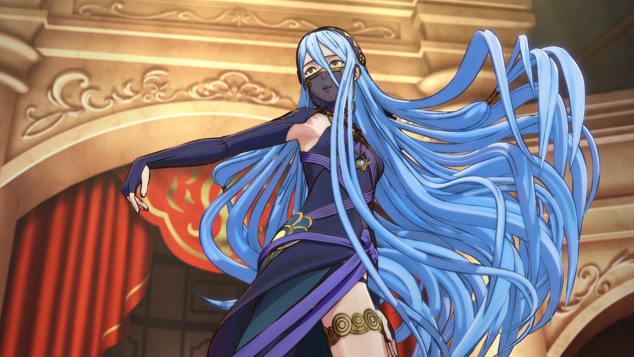 Azura dancing in dark blue robes Fire Emblem Fates, in a gorgeous still from a beautiful cutscene.
