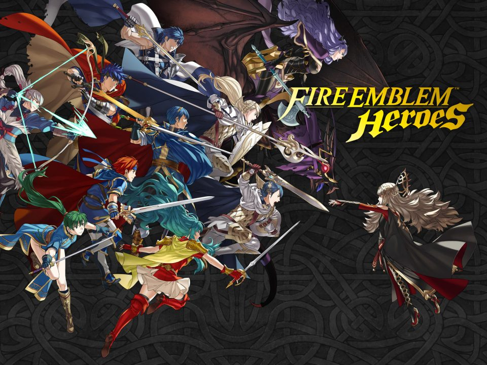 Key artwork for Fire Emblem Heroes which depcts the various lords throughout the series against a black backdrop. Examples of lords are Roy, Marth, Lyn, Ike, Chrom, and Erika. There are other famous characters on show as well, all wielding weapons.