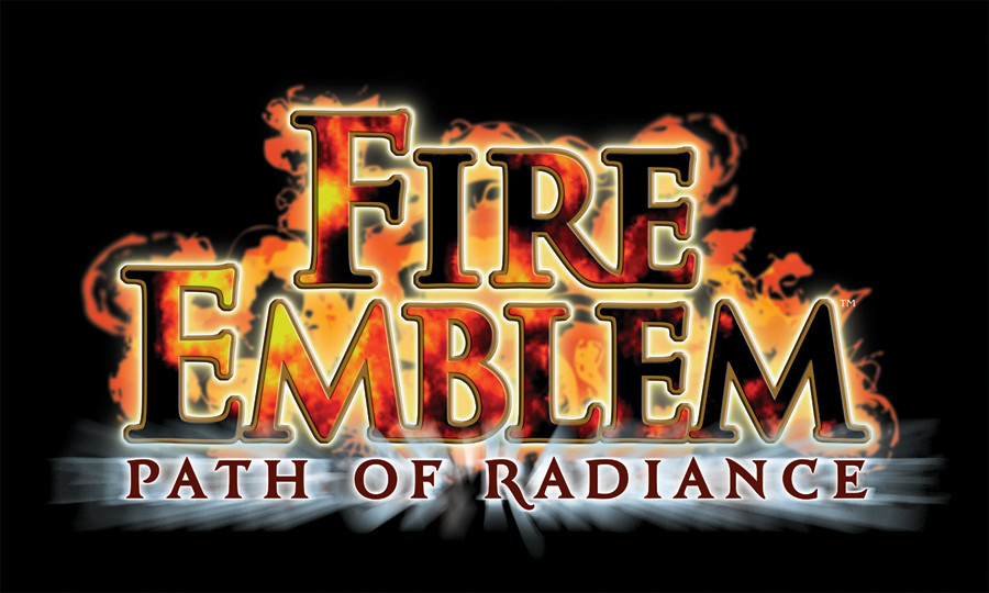 The logo for Fire Emblem: Path of Radiance, featuring blazing text with fire coming out of the letters, on a black background.