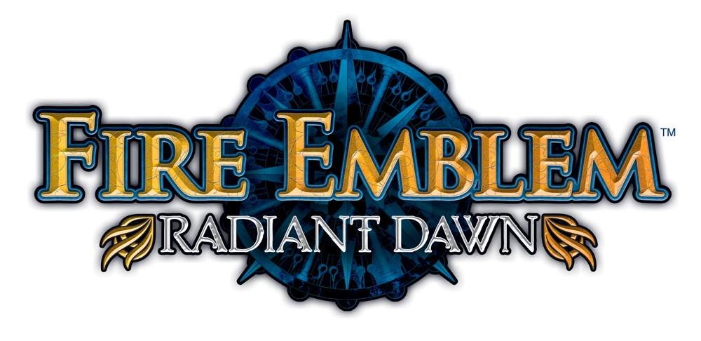 The logo for Fire Emblem: Radiant Dawn, which features yellow text on a blue emblem.