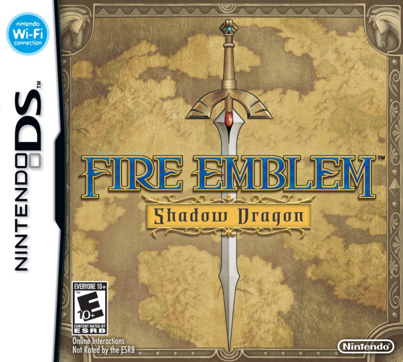 Fire Emblem Shadow Dragon Cover Art (US) for the Nintendo DS, depicting the Falchion over a stained map.