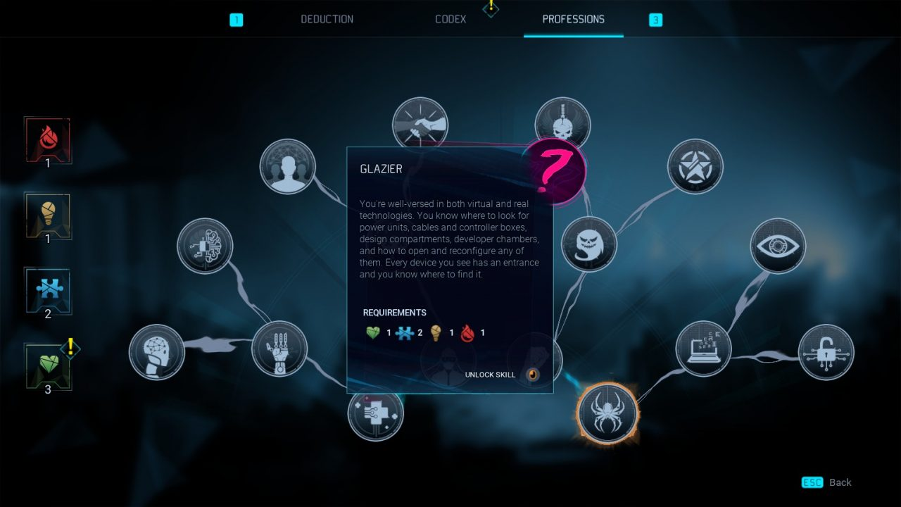 """The skill tree in Gamedec with """"Glazier,"""" a tech-based occupation, selected."""