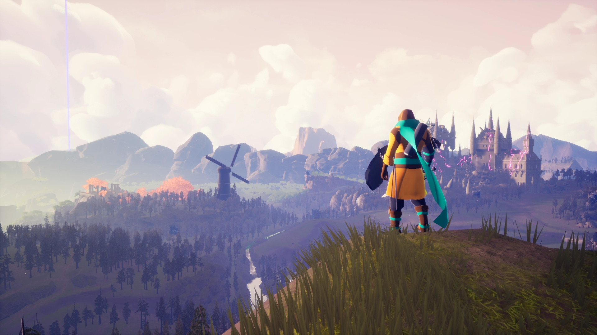 Hero is standing on a hilltop; there is a castle in the distance.