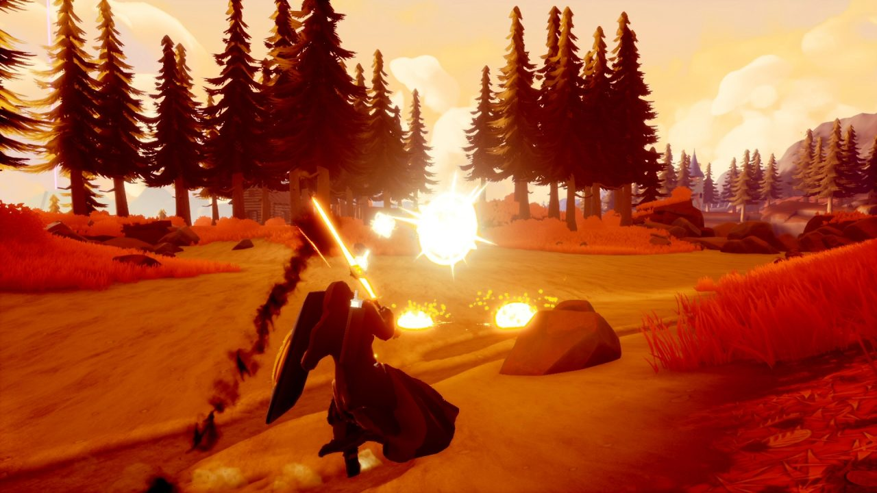 A wilderness setting; the hero is protecting himself from bright explosions of light.