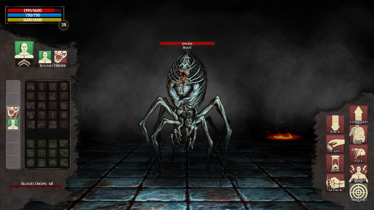 Combat against a skeletal spider in Inferno: Beyond the 7th Circle.
