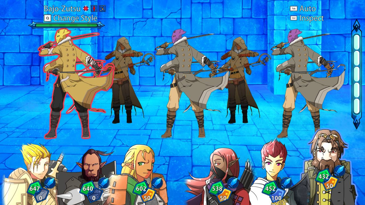 Six playable characters line up for battle while deadly enemies look like they're dancing in Infinite Adventures.
