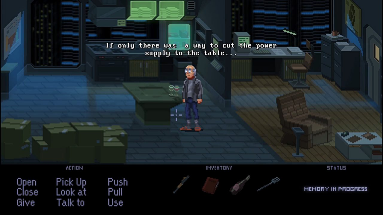Point-and-click scene showing an old man exploring a dark office.