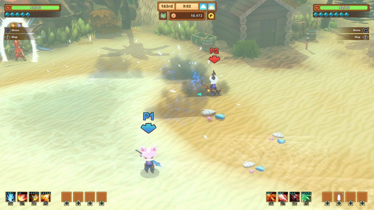Dois jogadores controlam pessoas-gatos enquanto eles jogam juntos em sua aventura no jogo Kitaria Fables.
