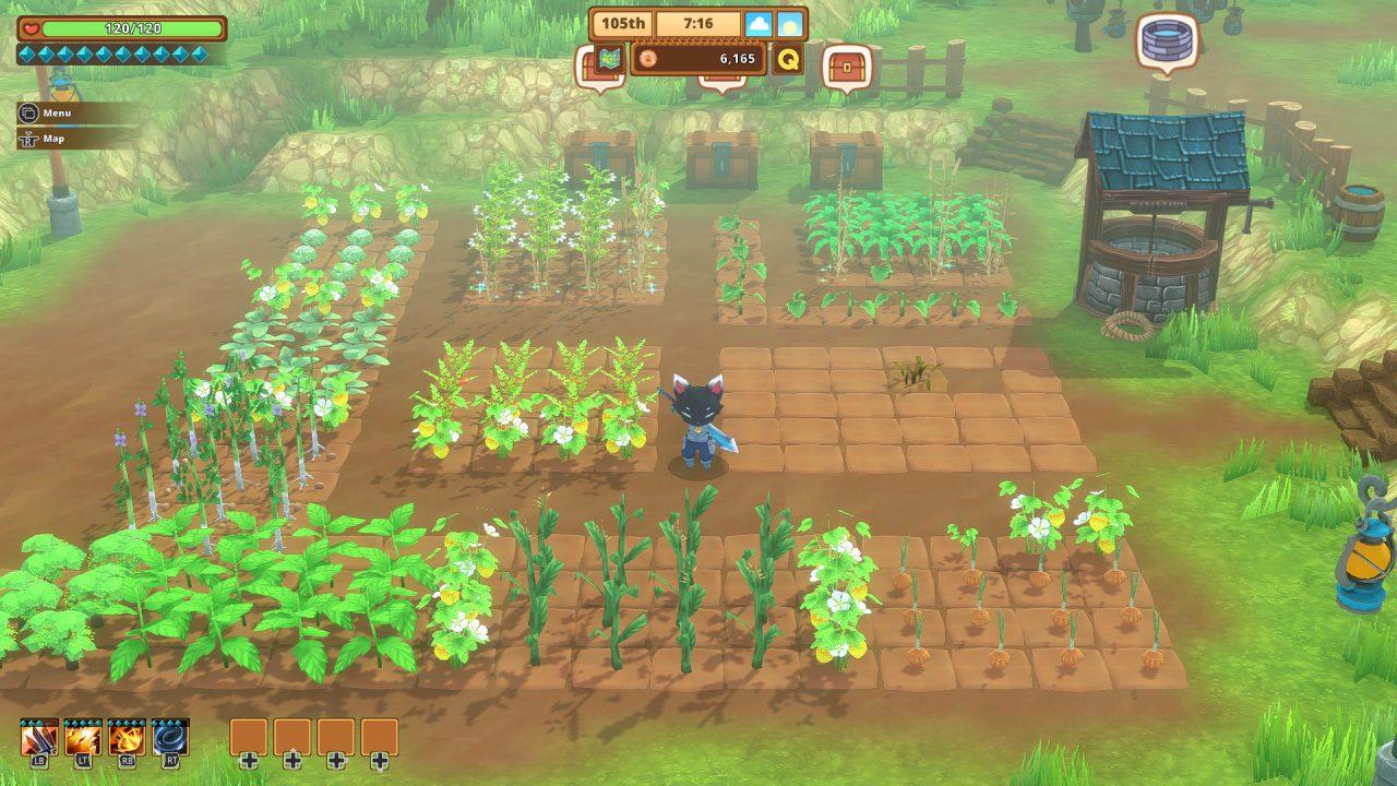 Captura de tela do Kitaria Fables de uma pessoa-gato cuidando de sua exuberante fazenda em plena floração.