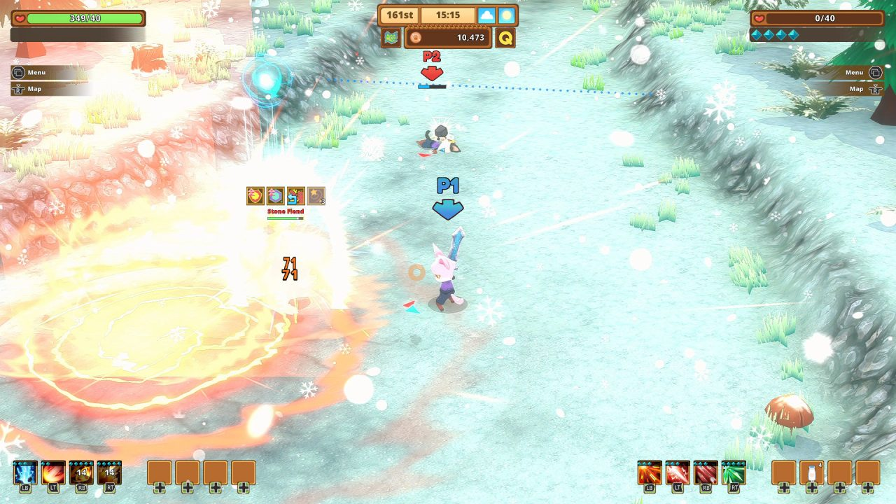 Kitaria Fables screenshot of an anthropomorphic cat with a sword casting a flashy fire spell on an enemy in a snowy landscape.