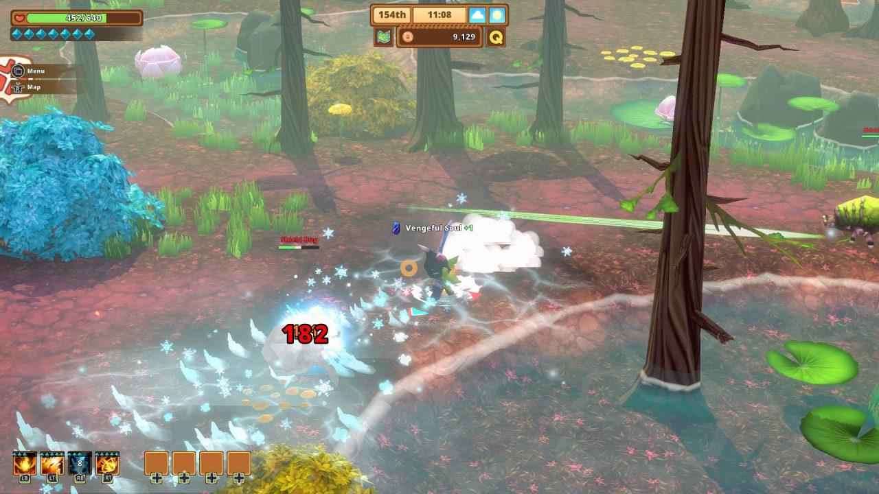 Captura de tela do Kitaria Fables de um gato entrando na batalha com grandes insetos em sua casa pantanosa.
